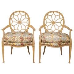 Pair of Hepplewhite Style Antique White Painted Spiderweb Armchairs