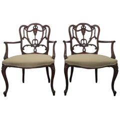 Pair of Hepplewhite Style Armchairs