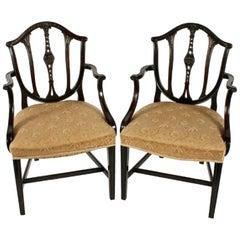 Pair of Hepplewhite Style Elbow Chairs, 20th Century