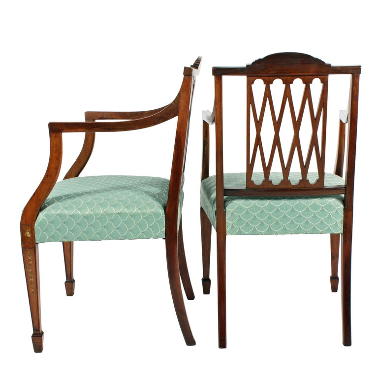 English Pair of 19th Century Hepplewhite Style Mahogany & Painted  Elbow Chairs For Sale