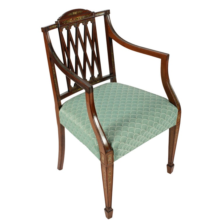 Hand-Painted Pair of 19th Century Hepplewhite Style Mahogany & Painted  Elbow Chairs For Sale