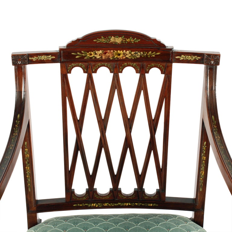 Pair of 19th Century Hepplewhite Style Mahogany & Painted  Elbow Chairs In Good Condition For Sale In Newcastle Upon Tyne, GB