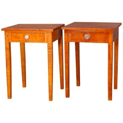 Pair of Hepplewhite Style Tiger Maple Single Drawer End Stands, 20th Century