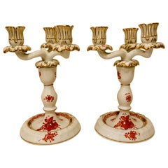 Pair of Herend Chinese Bouquet Candelabras in Rust/ Apponyi Orange Design