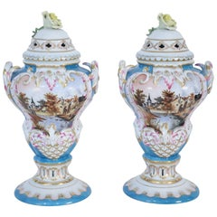Pair of Herend Hungarian Blue Decorated and Lidded Porcelain Urns