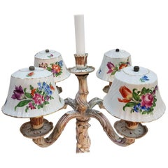 Pair of Herend Porcelain Candelabras, Hand Painted, 1920