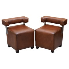 Pair of Heritage Brown Leather with Chrome Back Supports Small Chair Stools