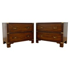 Pair of Heritage Henredon Campaign Style Night Stands, Circa 1960s