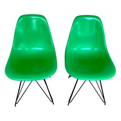 Pair of Herman Miller Eames Eiffel Tower Green Shell Chairs