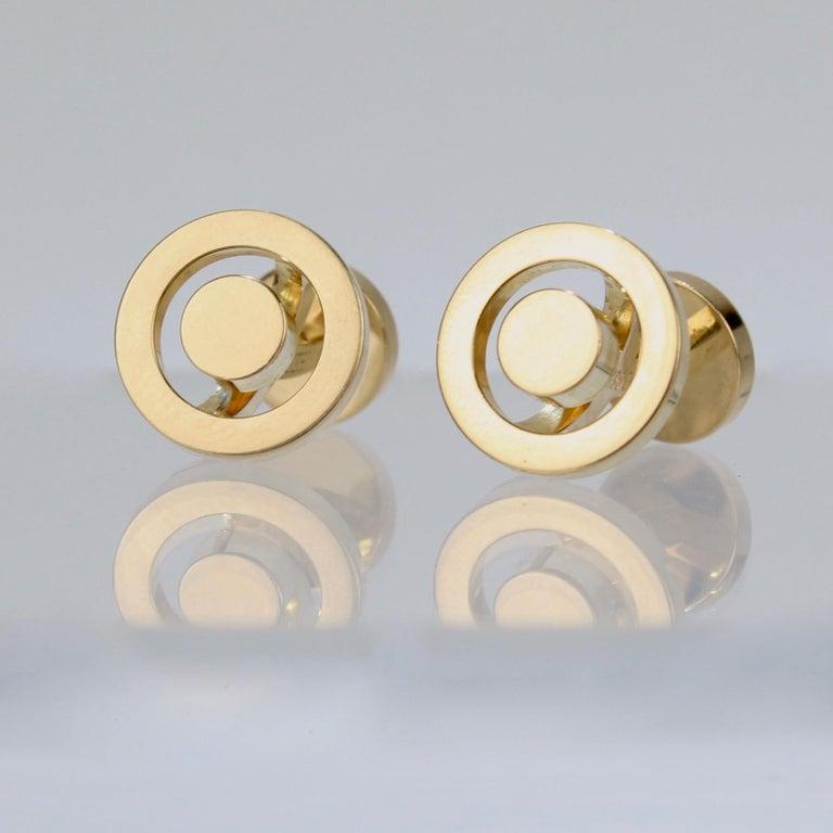 Modern Pair of Hermes 18 Karat Gold Cufflinks For Sale