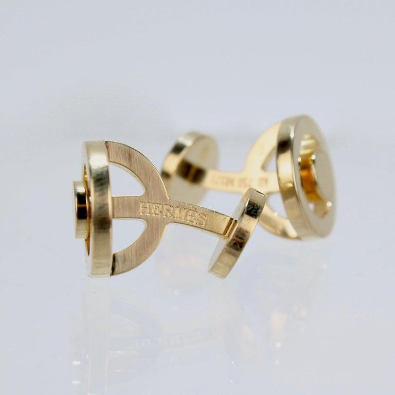 Men's Pair of Hermes 18 Karat Gold Cufflinks For Sale