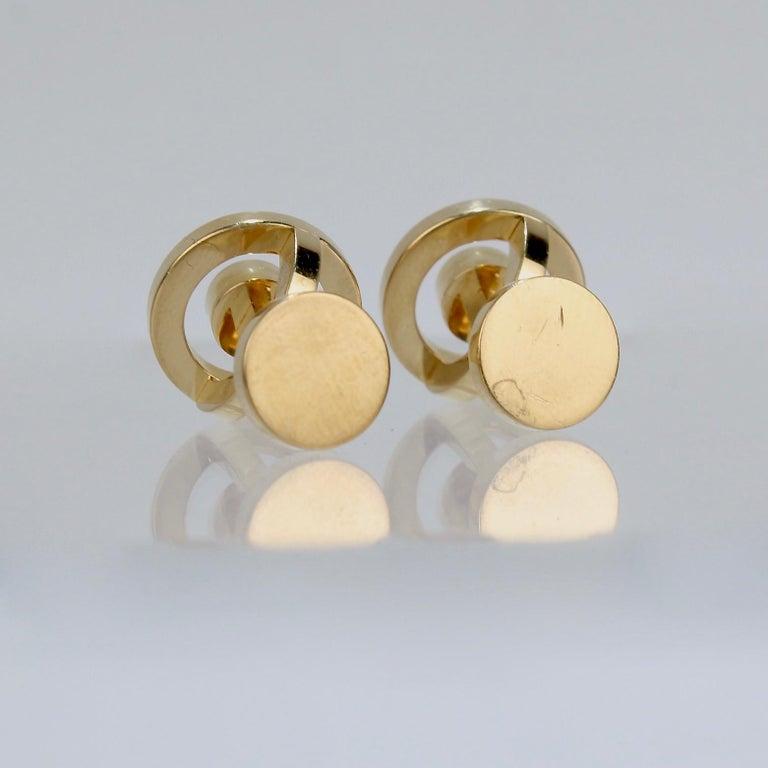 Pair of Hermes 18 Karat Gold Cufflinks For Sale 4