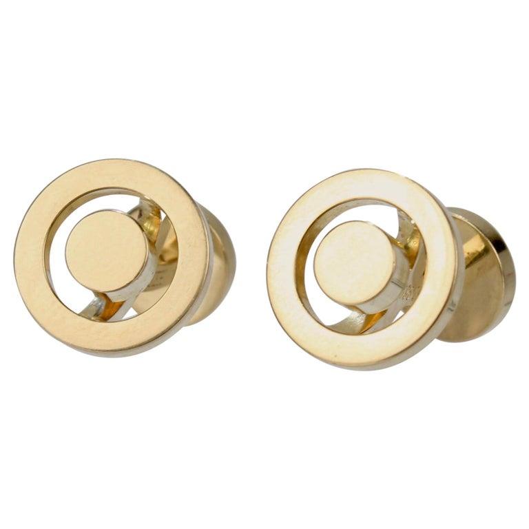 Pair of Hermes 18 Karat Gold Cufflinks For Sale
