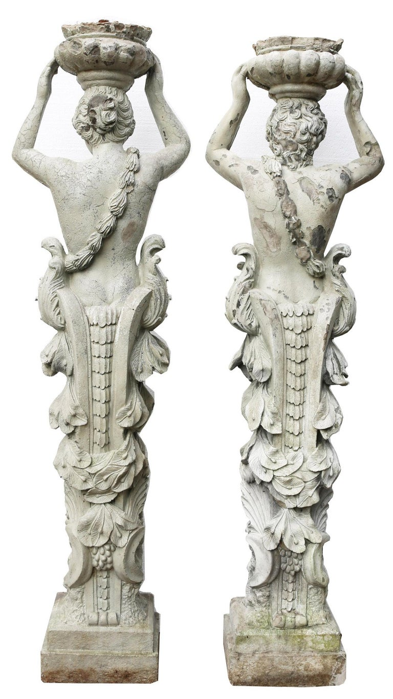 English Pair of Herms Depicting a Caryatid and Atlas For Sale