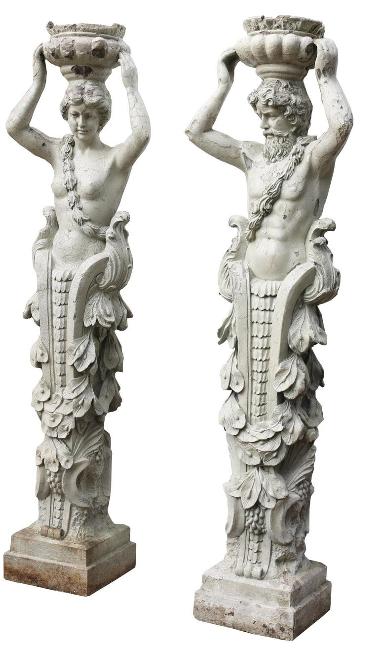 Pair of Herms Depicting a Caryatid and Atlas In Fair Condition For Sale In Wormelow, Herefordshire