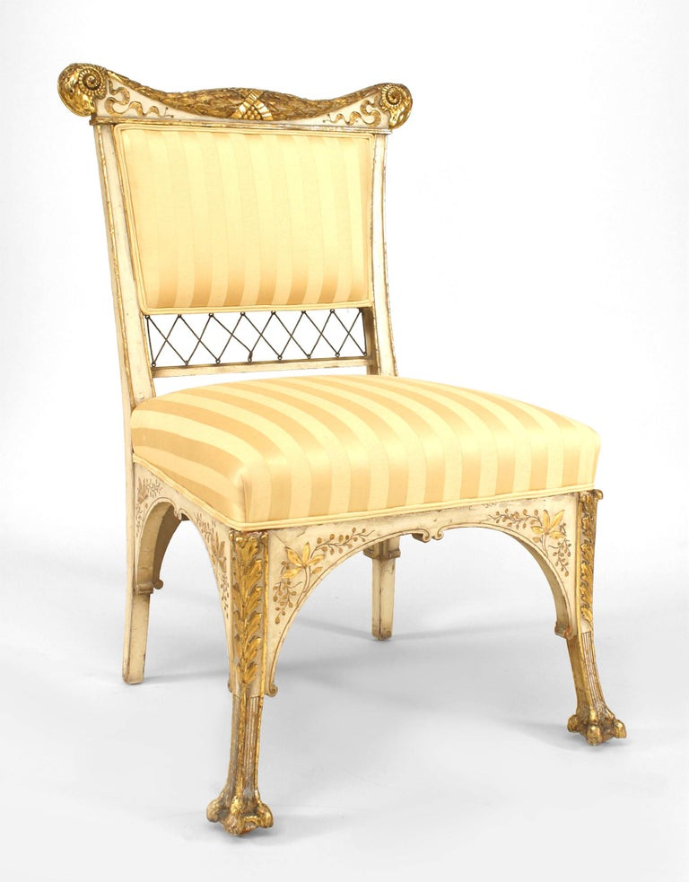 Aesthetic Movement Pair Of Herter Bros. Gilded And Upholstered Side Chairs For Sale