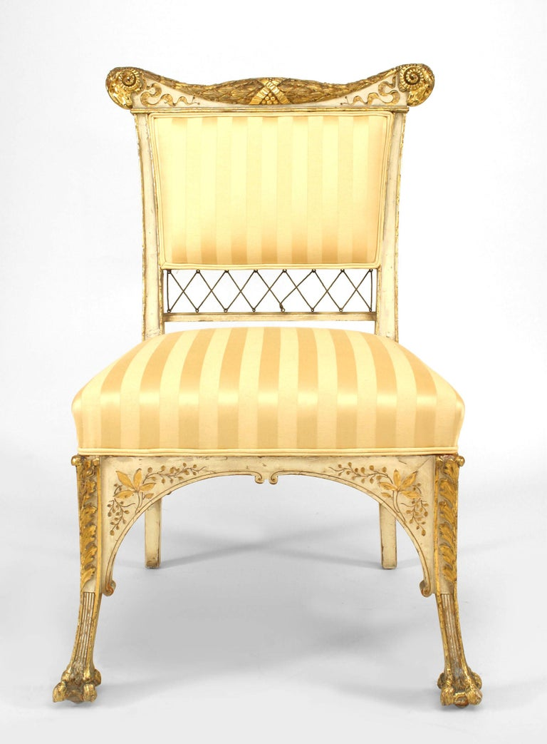 American Pair Of Herter Bros. Gilded And Upholstered Side Chairs For Sale
