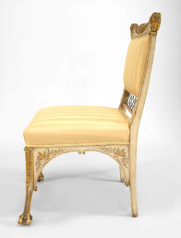 Painted Pair Of Herter Bros. Gilded And Upholstered Side Chairs For Sale