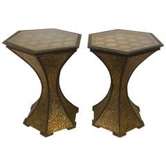 Pair of Hexagon Inlaid Gold Brass and Wood Black End or Side Lamp Tables