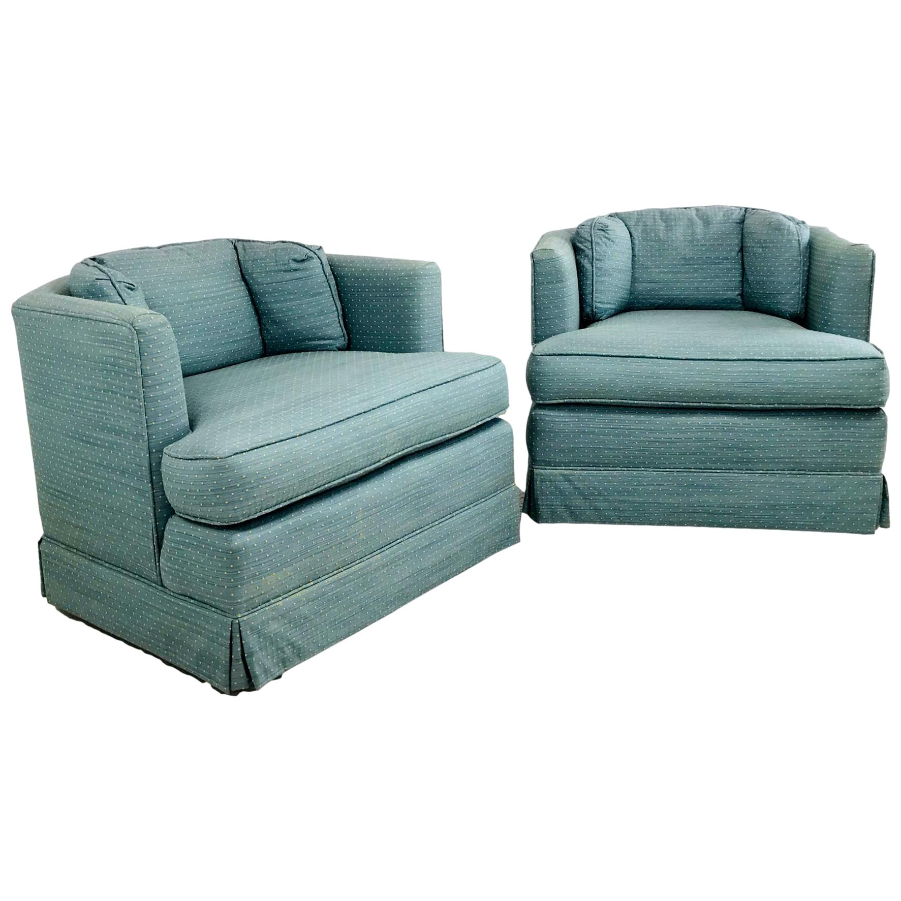 Pair of Hexagon Swivel Lounge Chairs