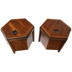 Pair of Hexagon Walnut End Side Tables w/ One Door Cabinets Storage Compartment