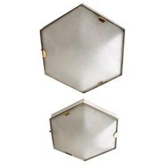 Pair of Hexagonal 4-Light Flush Mounts or Wall Lamps by Stilnovo