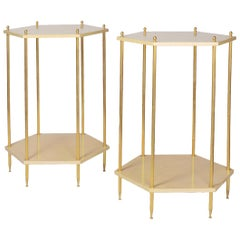 Pair of Hexagonal Cream Lacquered End Tables, Contemporary Work