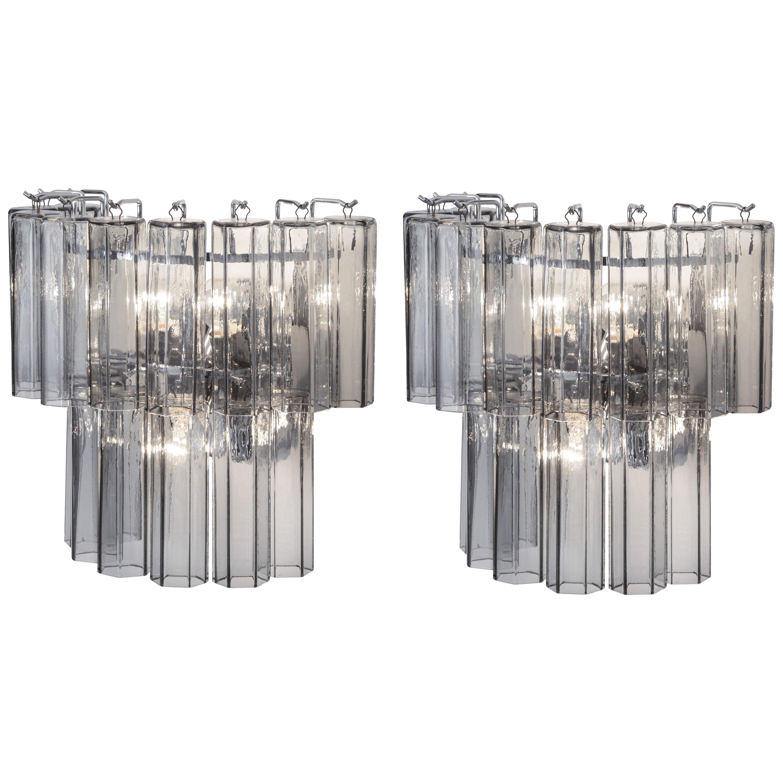 Pair of Hexagonal Murano Glass Wall Lights