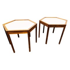 Pair of Hexagonal Side Tables Designed by Hans C. Andersen, circa 1960s