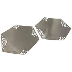 Pair of Hexagonal Silver Dishes