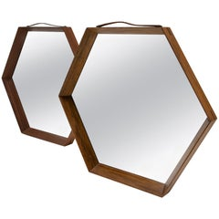 Pair of Hexagonal Teak Mirrors