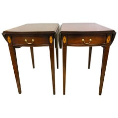 Pair of Hickory Chair Federal Mahogany Inlay Drop-leaf End Tables