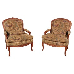 Pair of Hickory White Louis XV Style Walnut Tapestry Lounge Chairs
