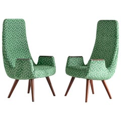 Pair of High Back Armchairs in Green Braquenié Velvet and Wengé Wood, 1950s