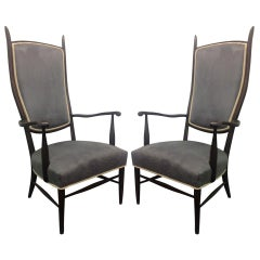 Pair of High Back Armchairs in Suede Upholstery