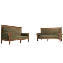 Pair of High Back Art Deco Sofas in Green Fabric Upholstery