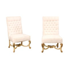 Pair of High Back Chairs with Tufted Backs and Nicely Carved Legs