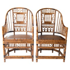 Pair of High Back Chinese Chippendale Bamboo Arm Chairs