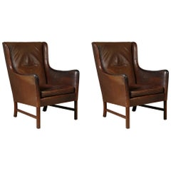 Pair of High-Back Danish Lounge Chairs with Original Leather by Ole Wanscher