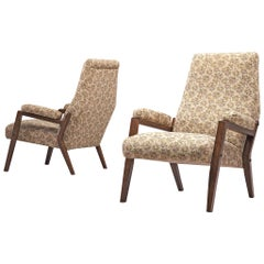 Pair of High Back Italian Armchairs, circa 1950