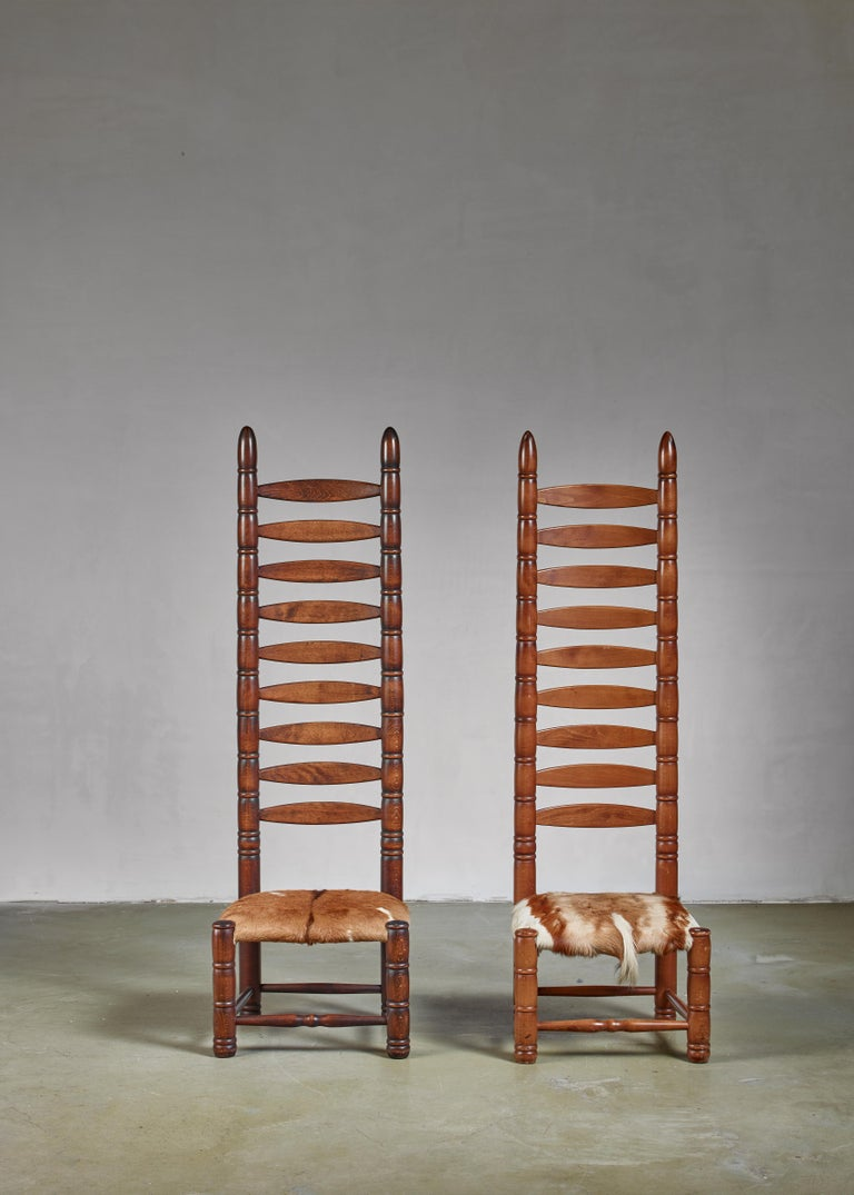 Bohemian Pair of High Back Ladder Chairs with Goatskin Seating, 1960s For Sale