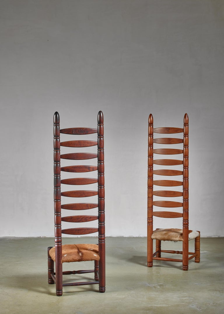 German Pair of High Back Ladder Chairs with Goatskin Seating, 1960s For Sale