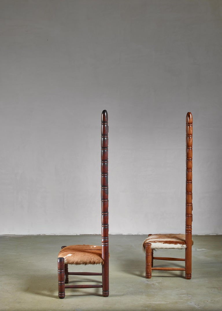 Pair of High Back Ladder Chairs with Goatskin Seating, 1960s In Good Condition For Sale In Maastricht, NL