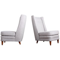 Pair of High Back Lounge Chairs by Paul Laszlo