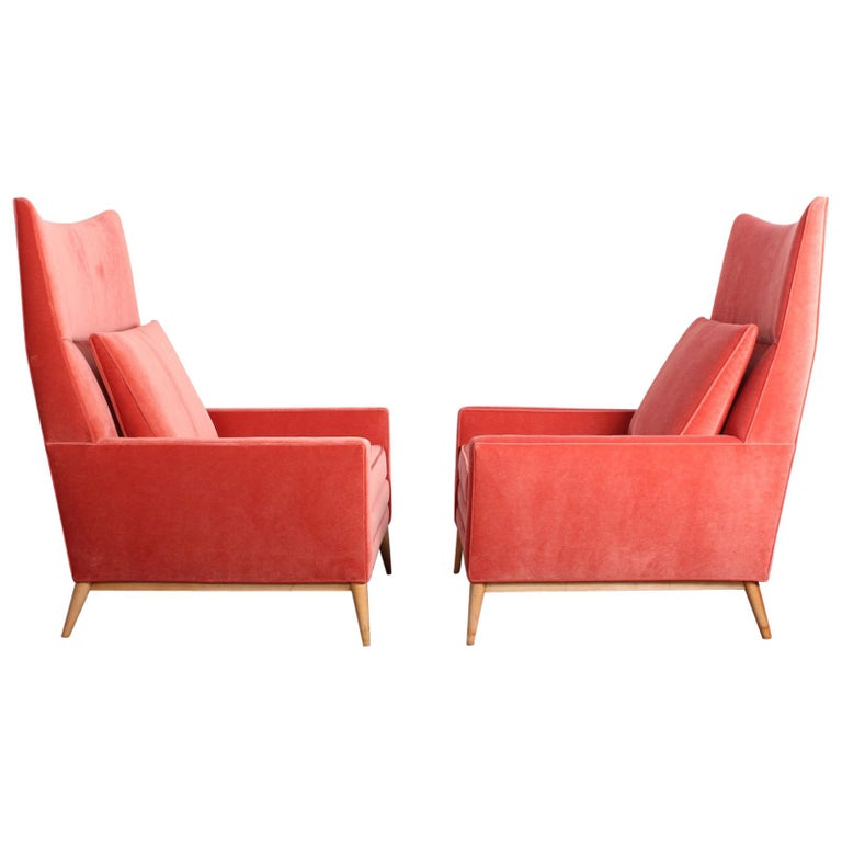 Pair of High Back Lounge Chairs by Paul McCobb For Sale