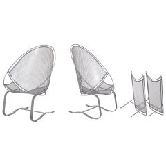 Pair of High Back Patio Lounge Chairs with Footrest by John Salterini