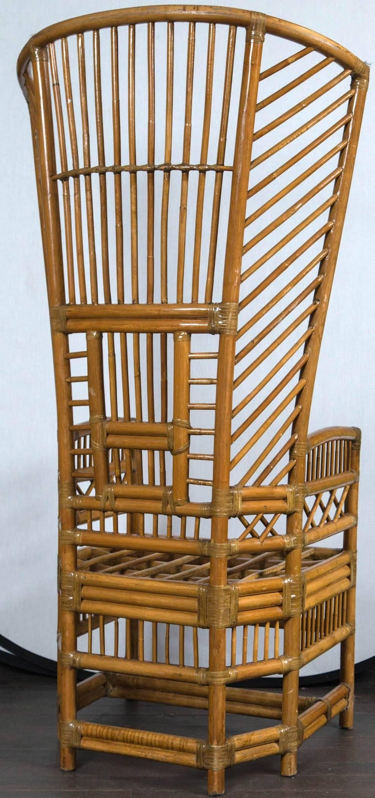 Pair of High Back Rattan Armchairs For Sale at 1stdibs