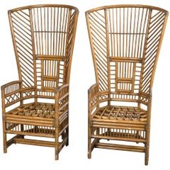 Pair of High Back Rattan Armchairs