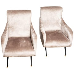 Pair of High Back Upholstered Armchairs with Black Enameled Feet