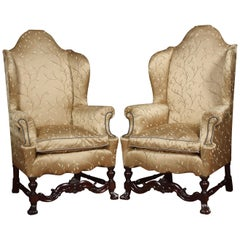 Pair of High Back Wing Armchairs